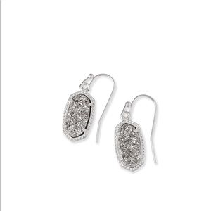 Lee Drop Earrings in Platinum Drusy.